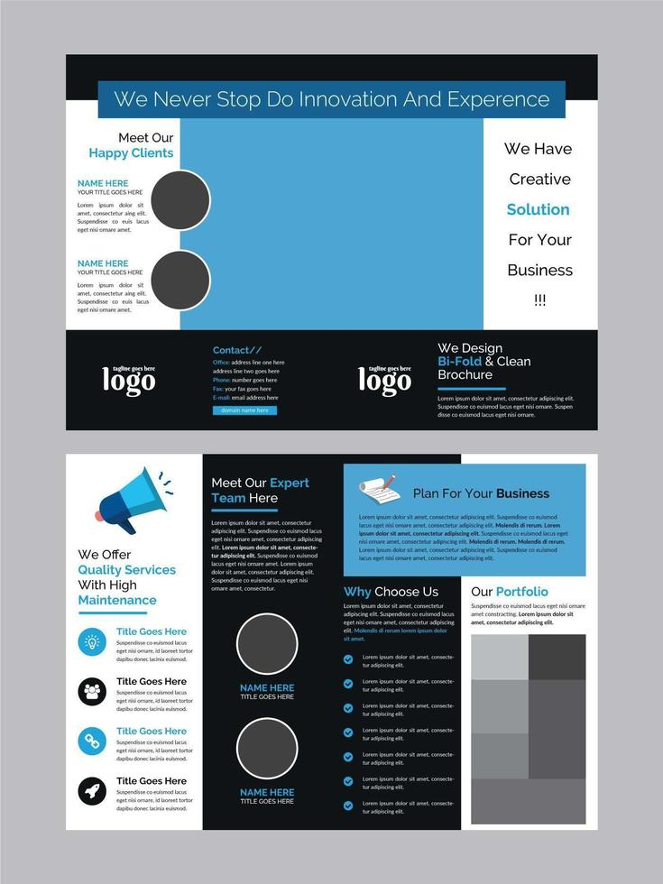 folleto tríptico empresarial azul y negro vector