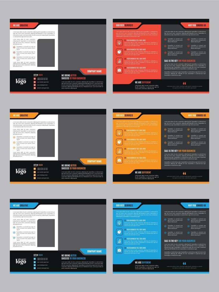 Modern Brochure Template Set with Minimal Cover vector
