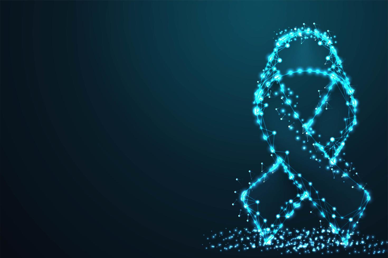 Digital breast cancer ribbon symbol vector