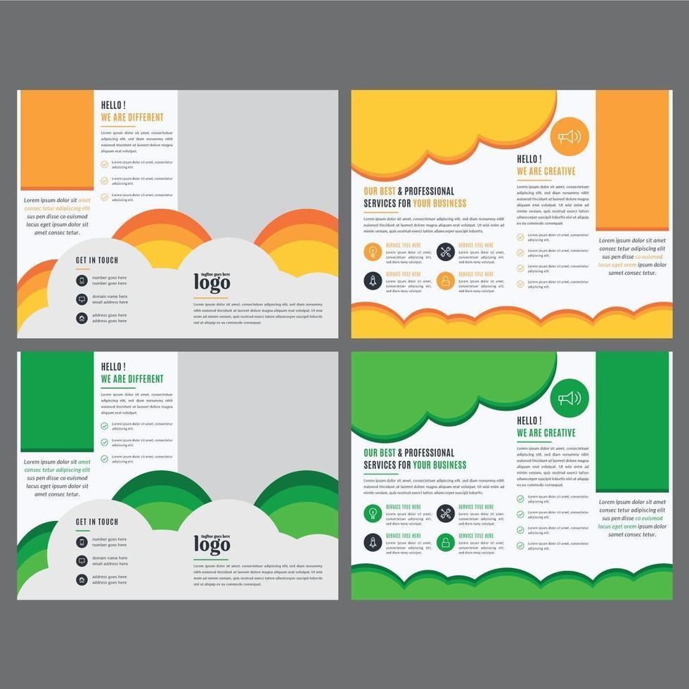 plantilla de folleto corporativo con formas coloridas vector