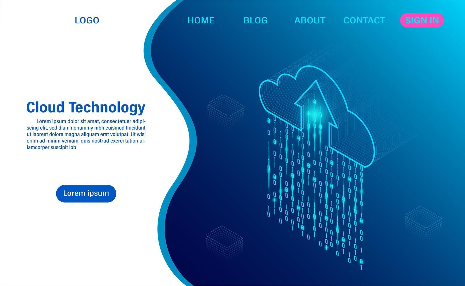 página de inicio de computación en la nube vector