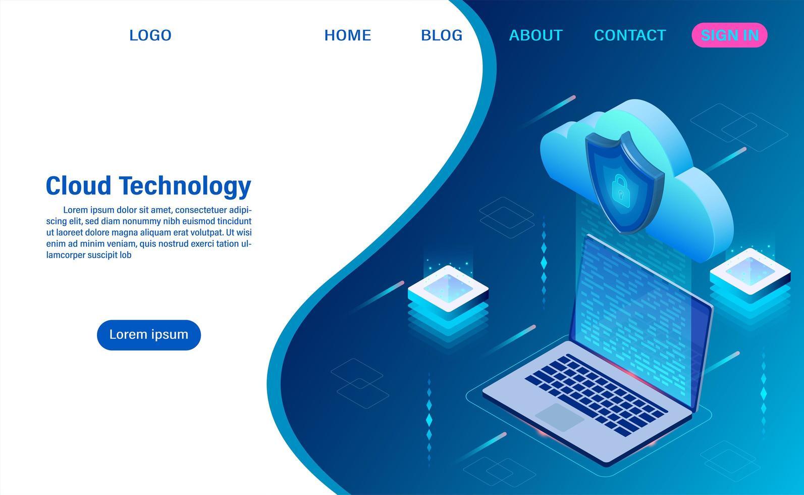 concepto de tecnología de computación en la nube vector