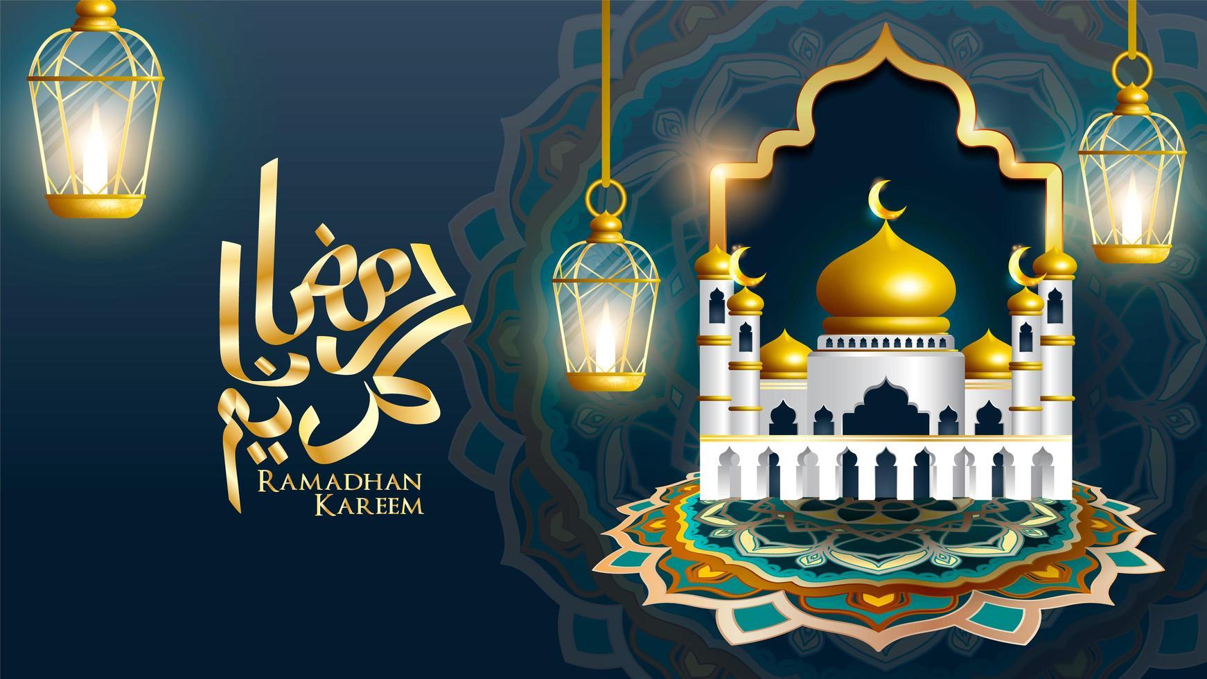 Ramadan Kareem design mosque with 3 hanging lanterns vector