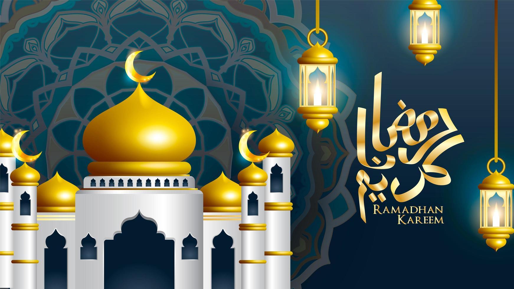 Ramadan Kareem calligraphy with mosque and lanterns vector