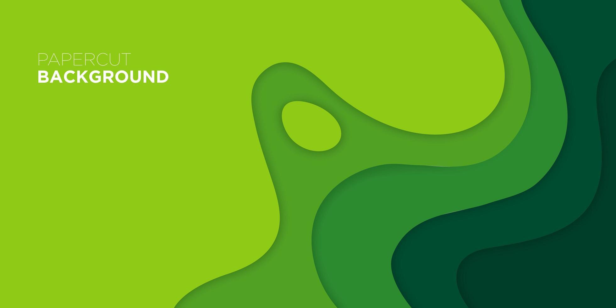 Wavy green paper cut poster vector