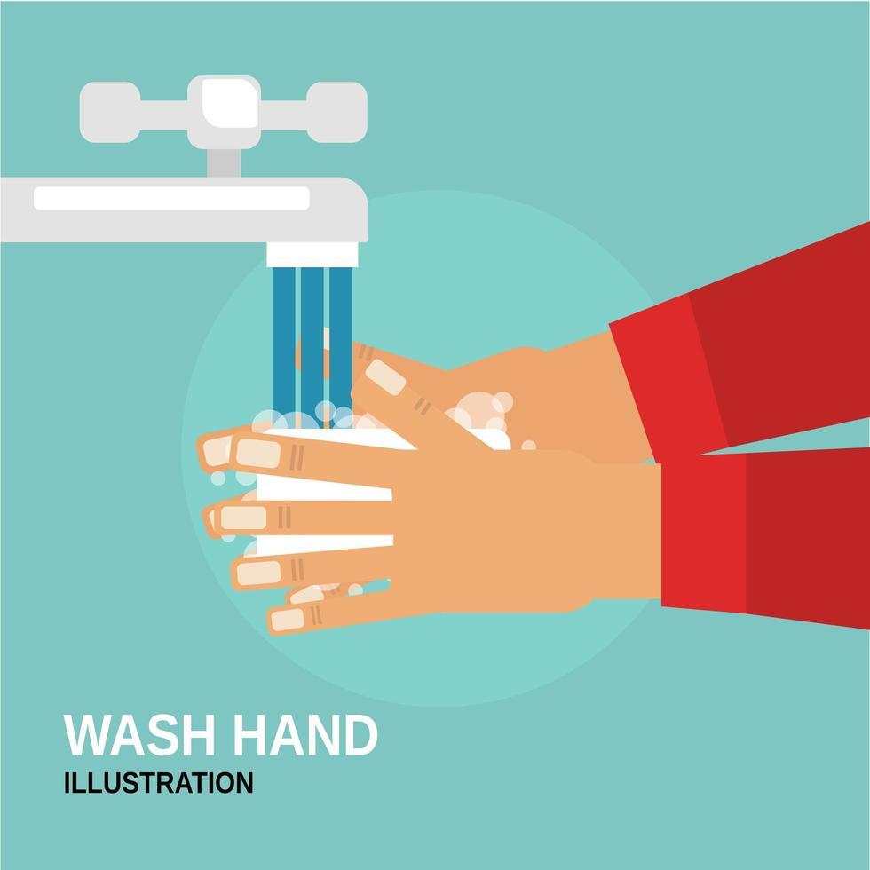 personne se laver les mains sous le robinet vecteur