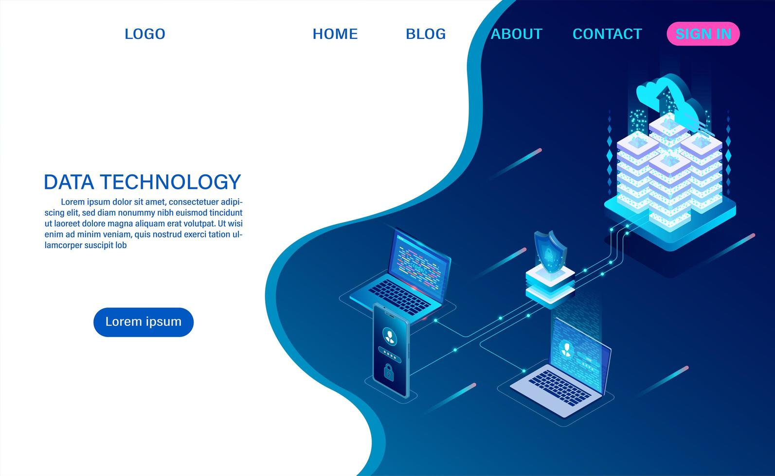 Data Technology Landing Page vector