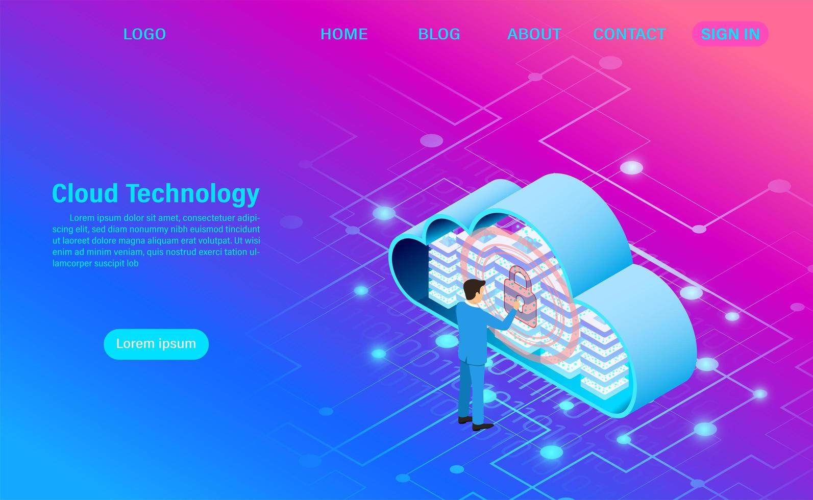 Modern Cloud and Security Technology vector
