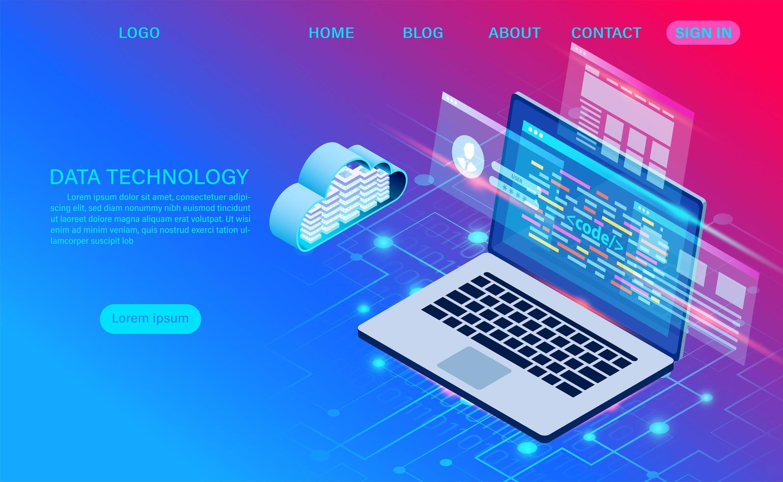 Data Technology Gradient Landing Page  vector