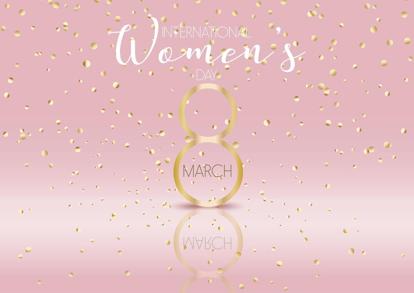 Fondo del día internacional de la mujer con confeti dorado vector