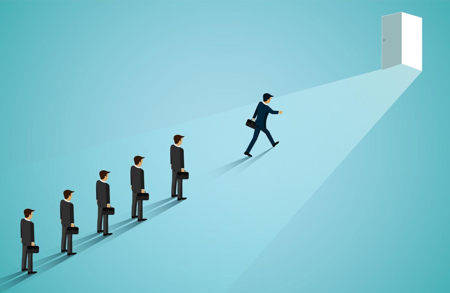 Business men walking to door of business success vector