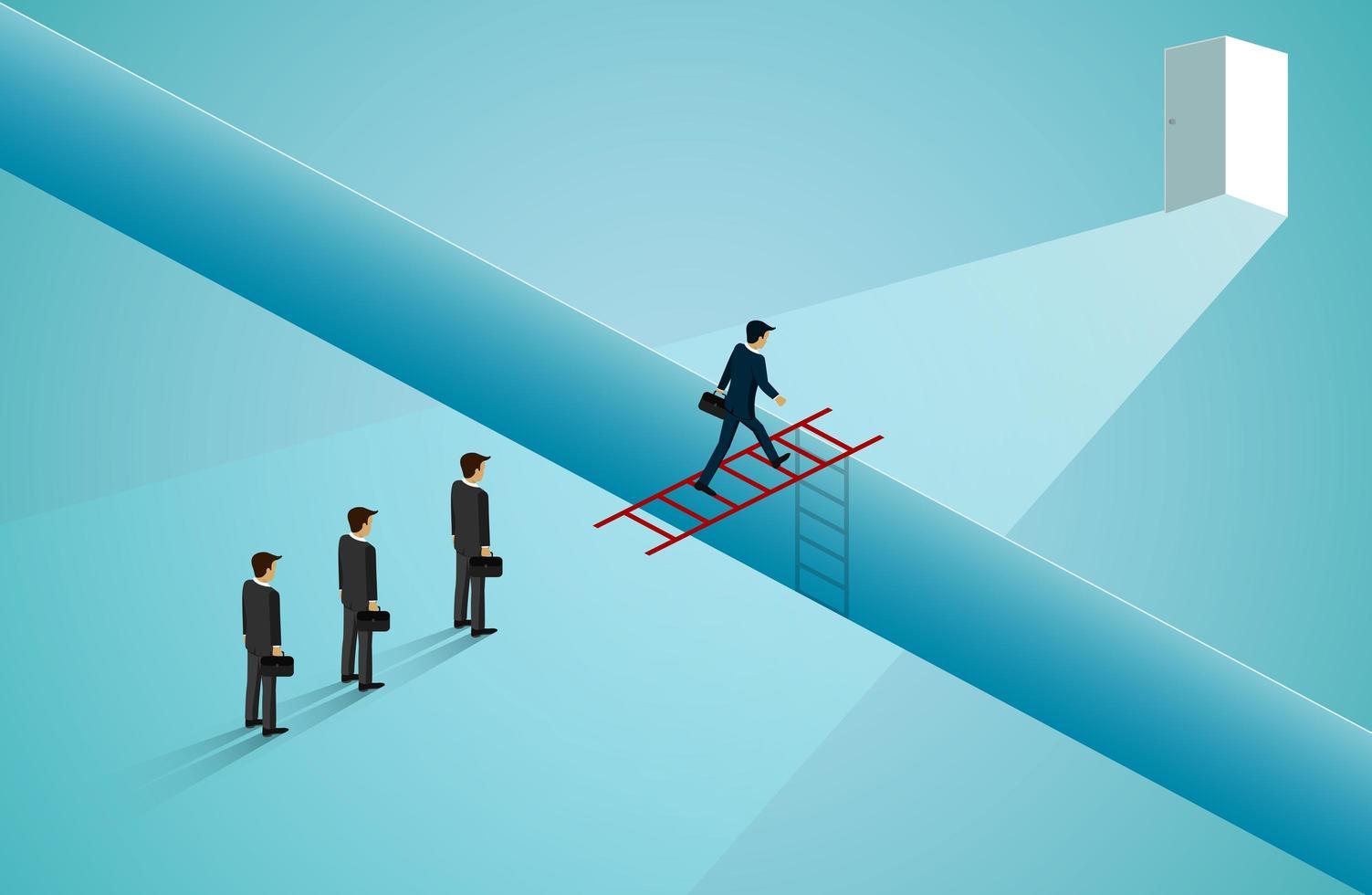 hombres de negocios caminando por la escalera roja a la puerta vector