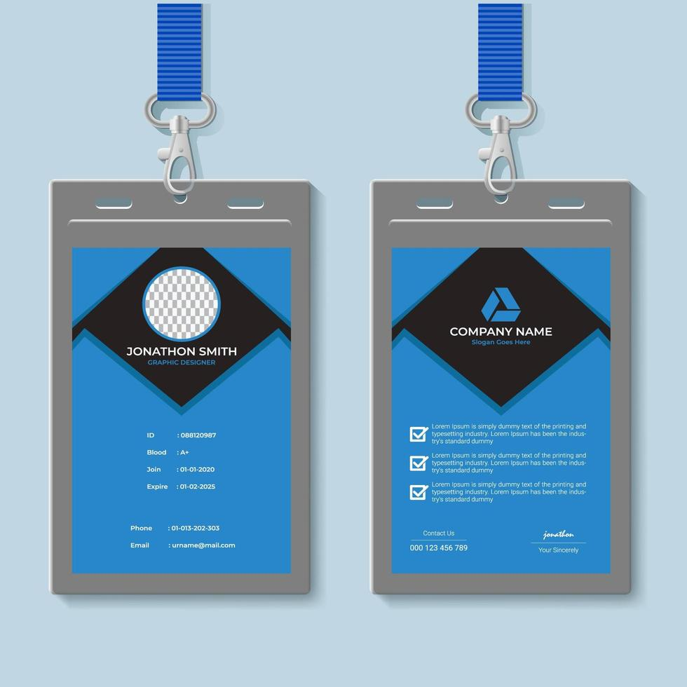 Blue and Gray ID Card Design Template 21 Vector Art at Vecteezy Regarding Company Id Card Design Template