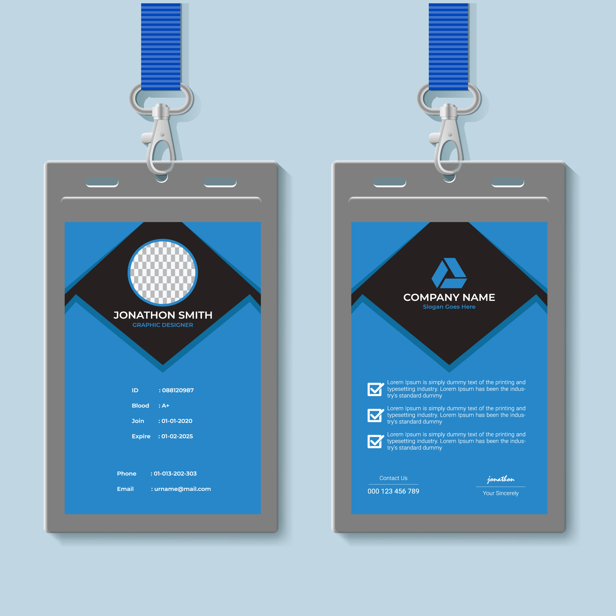 Blue and Gray ID Card Design Template 21 Vector Art at Vecteezy In Conference Id Card Template