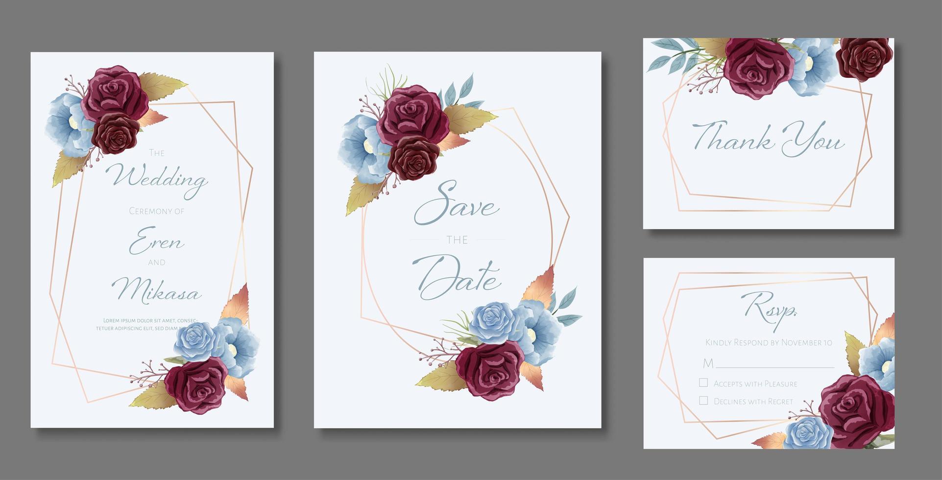 tarjeta de boda de acuarela con rosas y marcos vector