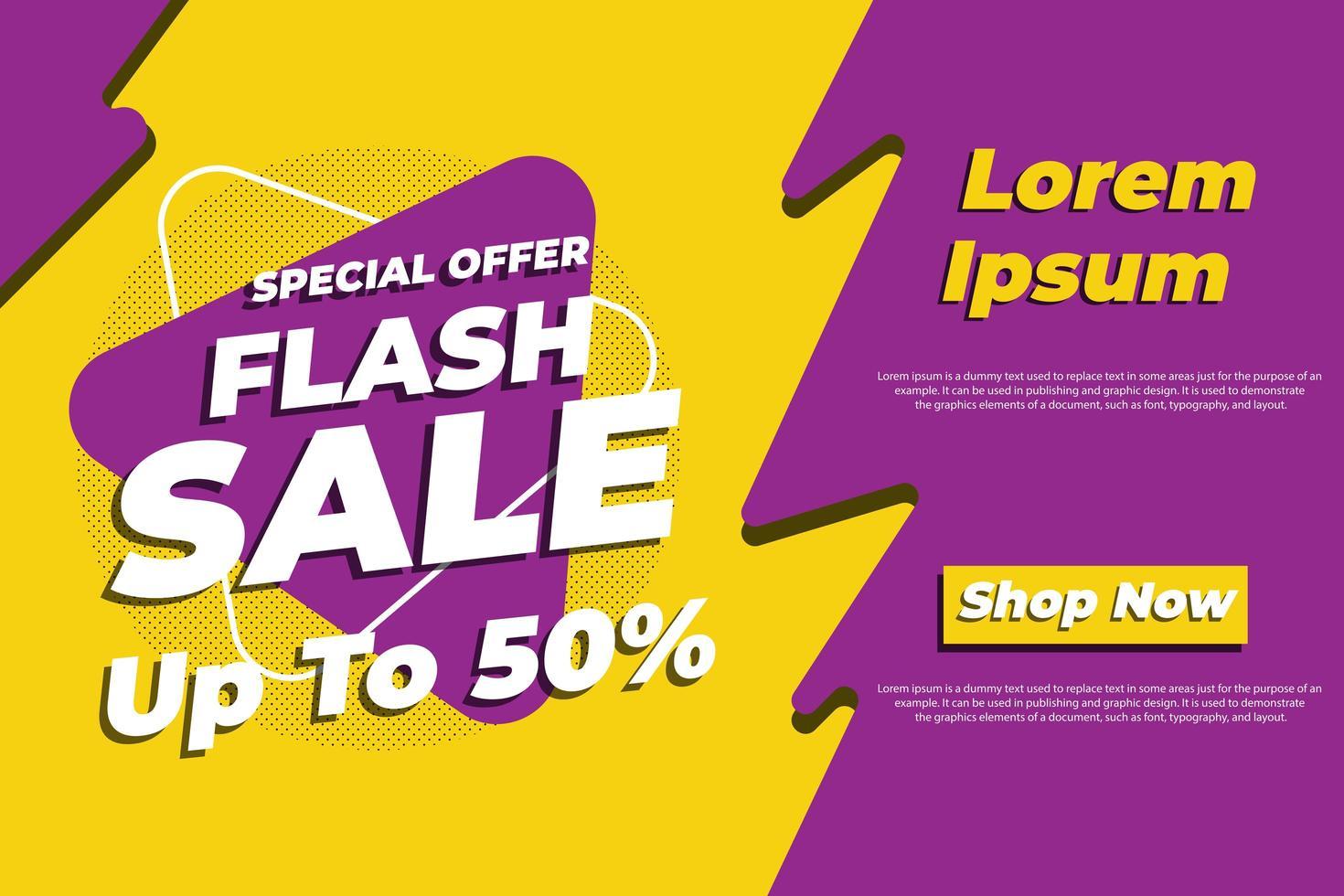 affiche de vente jaune et violet pour les médias sociaux vecteur