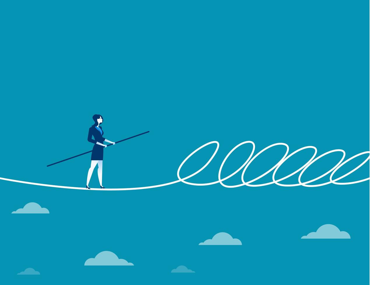 Businesswoman walking a tightrope and barrier vector