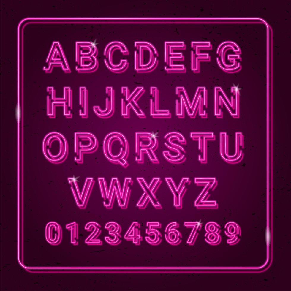 alfabeto viola al neon per la decorazione vettore