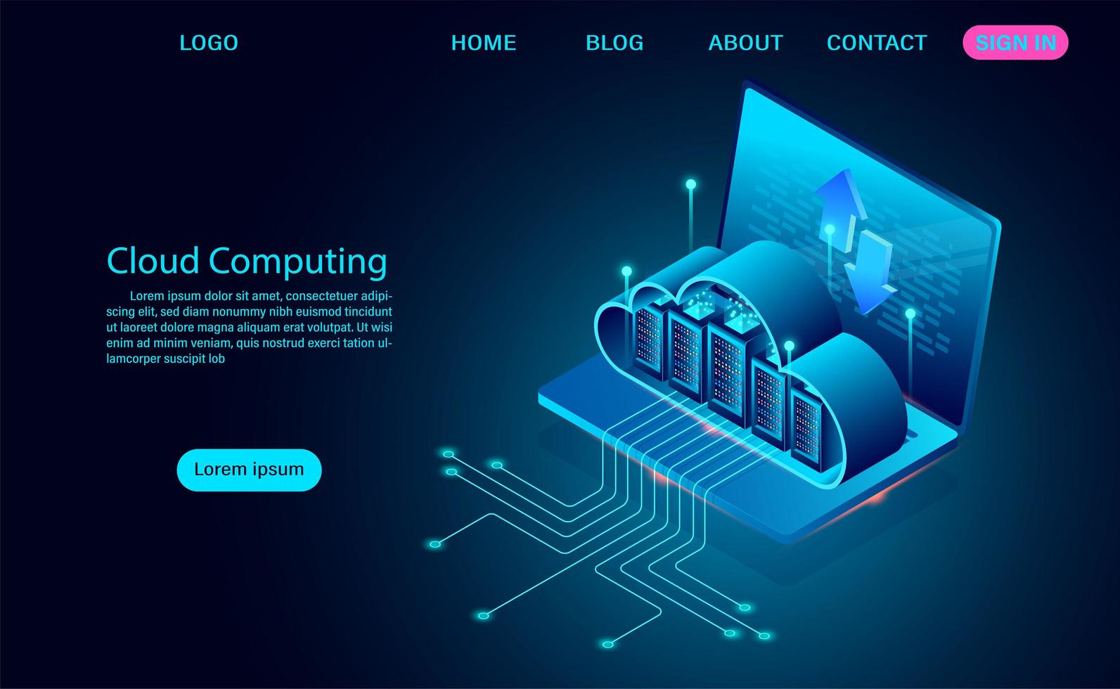 Cloud Computing Concept with Servers on Laptop vector
