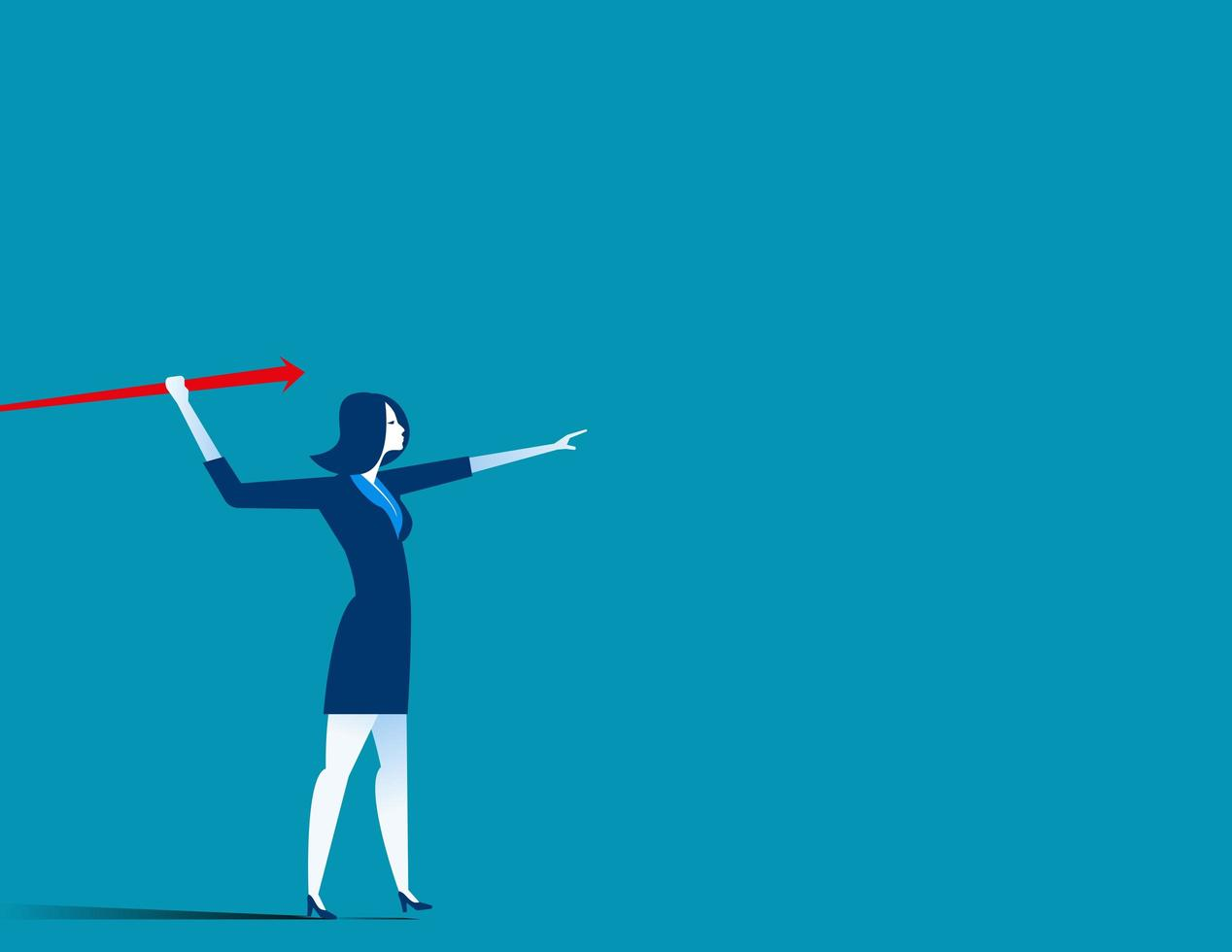 Businesswoman throwing red arrow spear vector