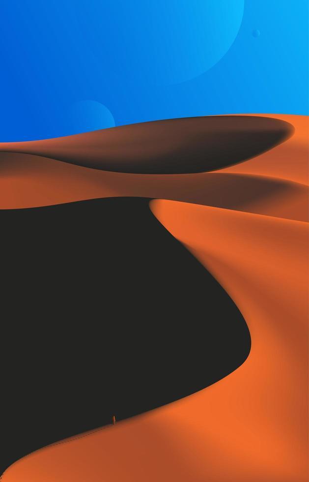 Desert Scenery in Evening Time  vector