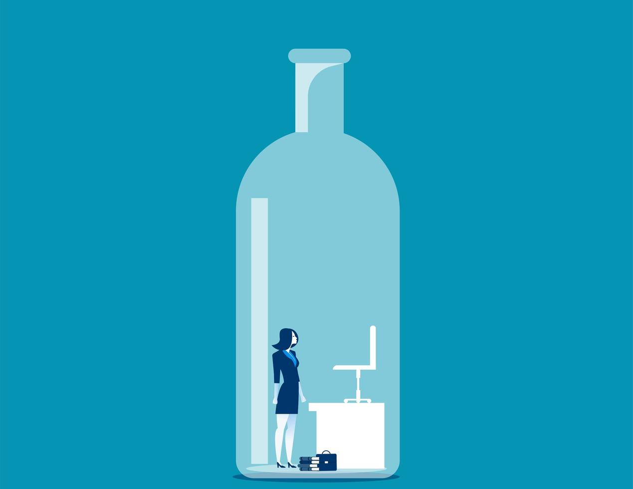Businesswoman trapped in bottle vector