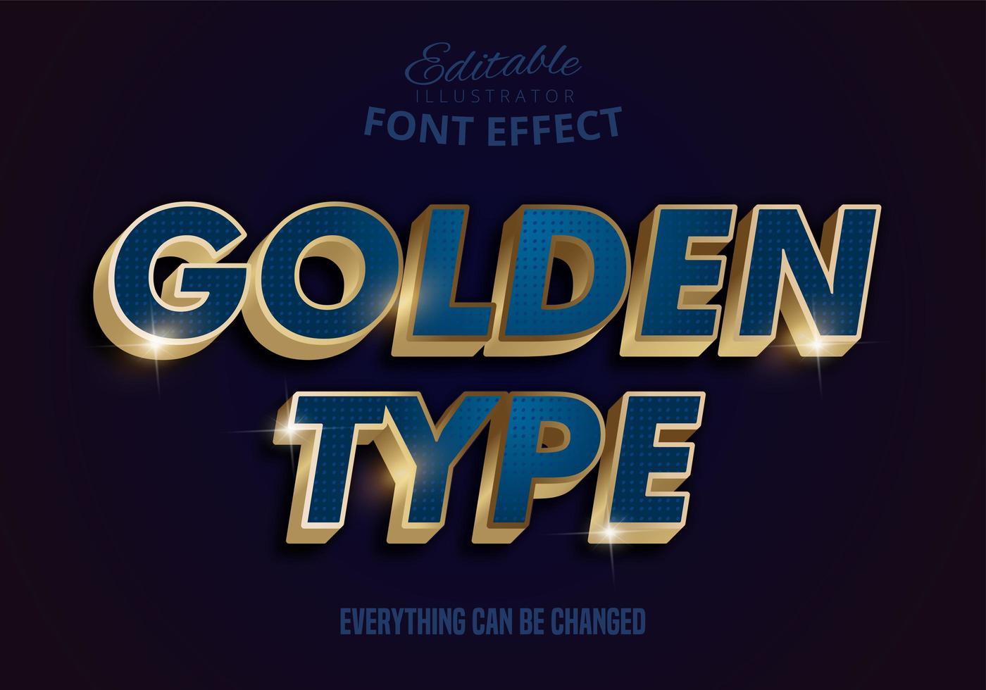effetto testo blu oro metallizzato vettore