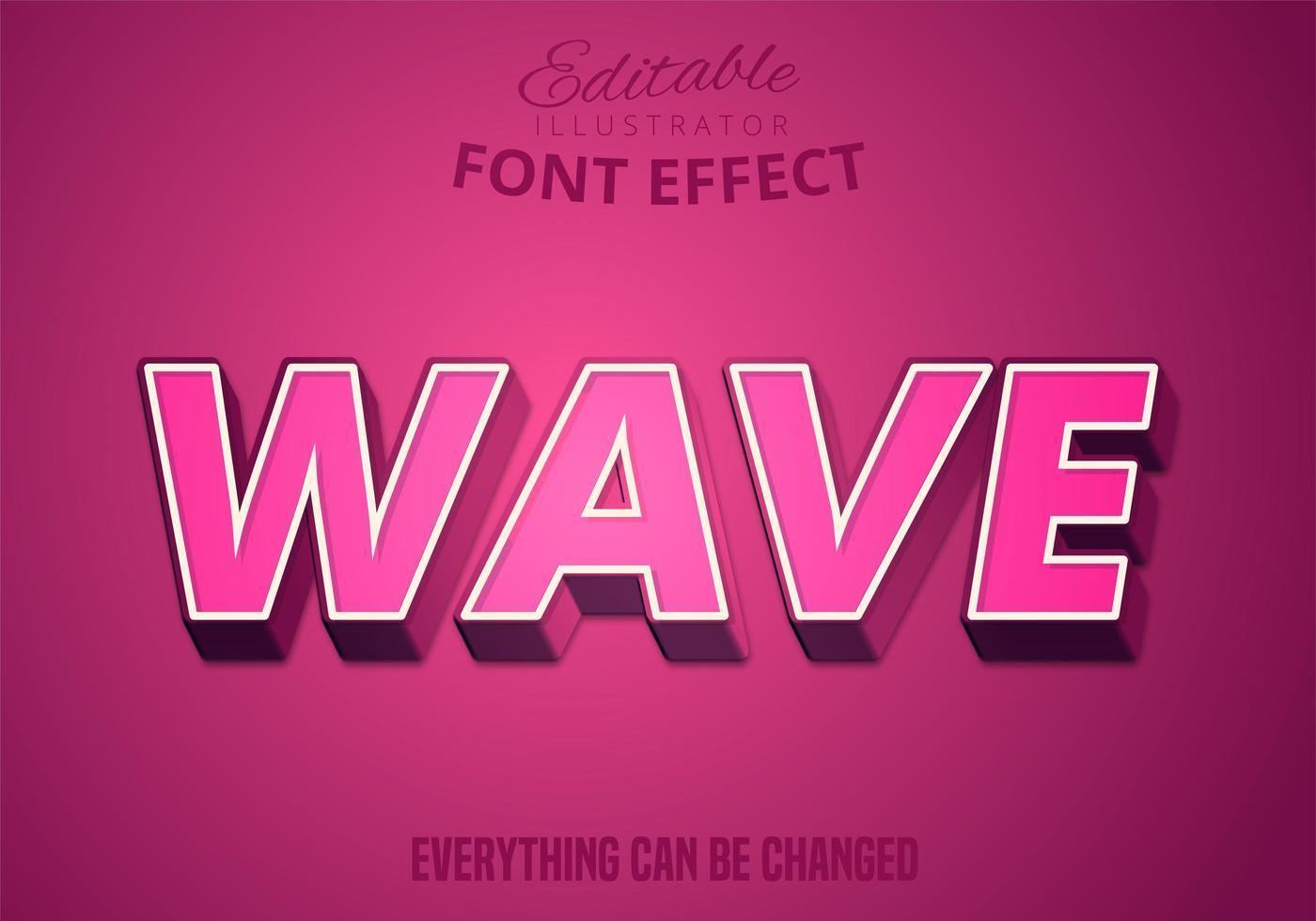 Wave text, editable text effect vector