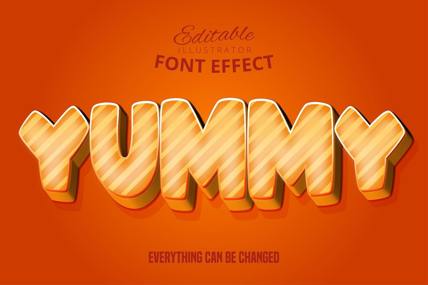 delicioso efecto de fuente editable naranja vector