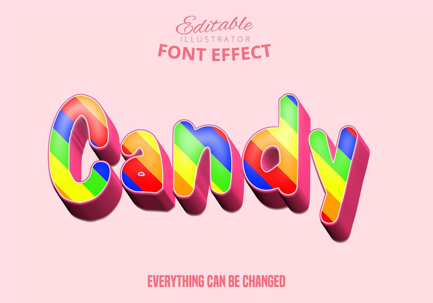 texto de caramelo, efecto de fuente editable vector