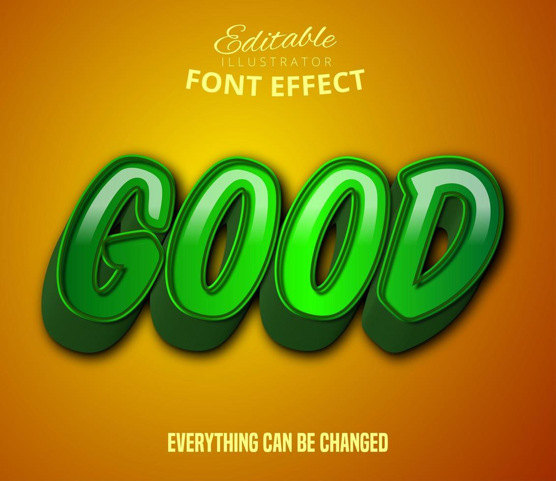 buen texto, efecto de texto editable de estilo de dibujos animados vector