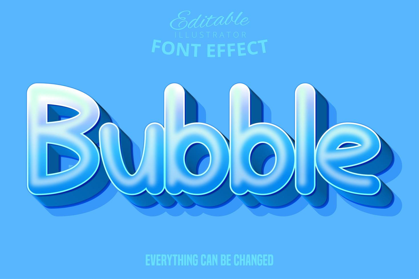 texto de burbuja, efecto de fuente editable vector