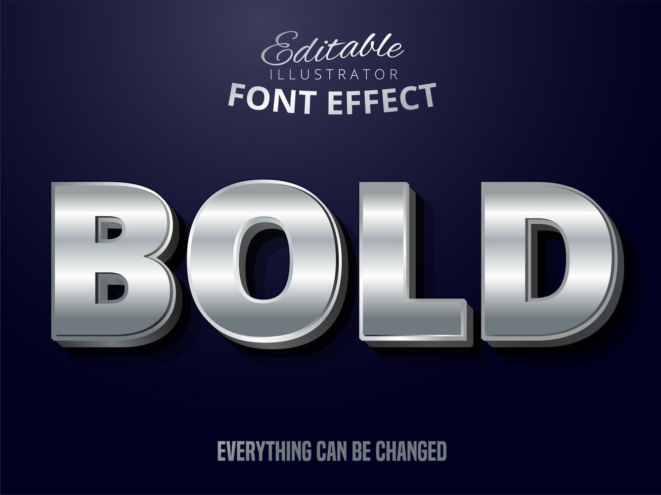 efecto de texto editable plateado vector