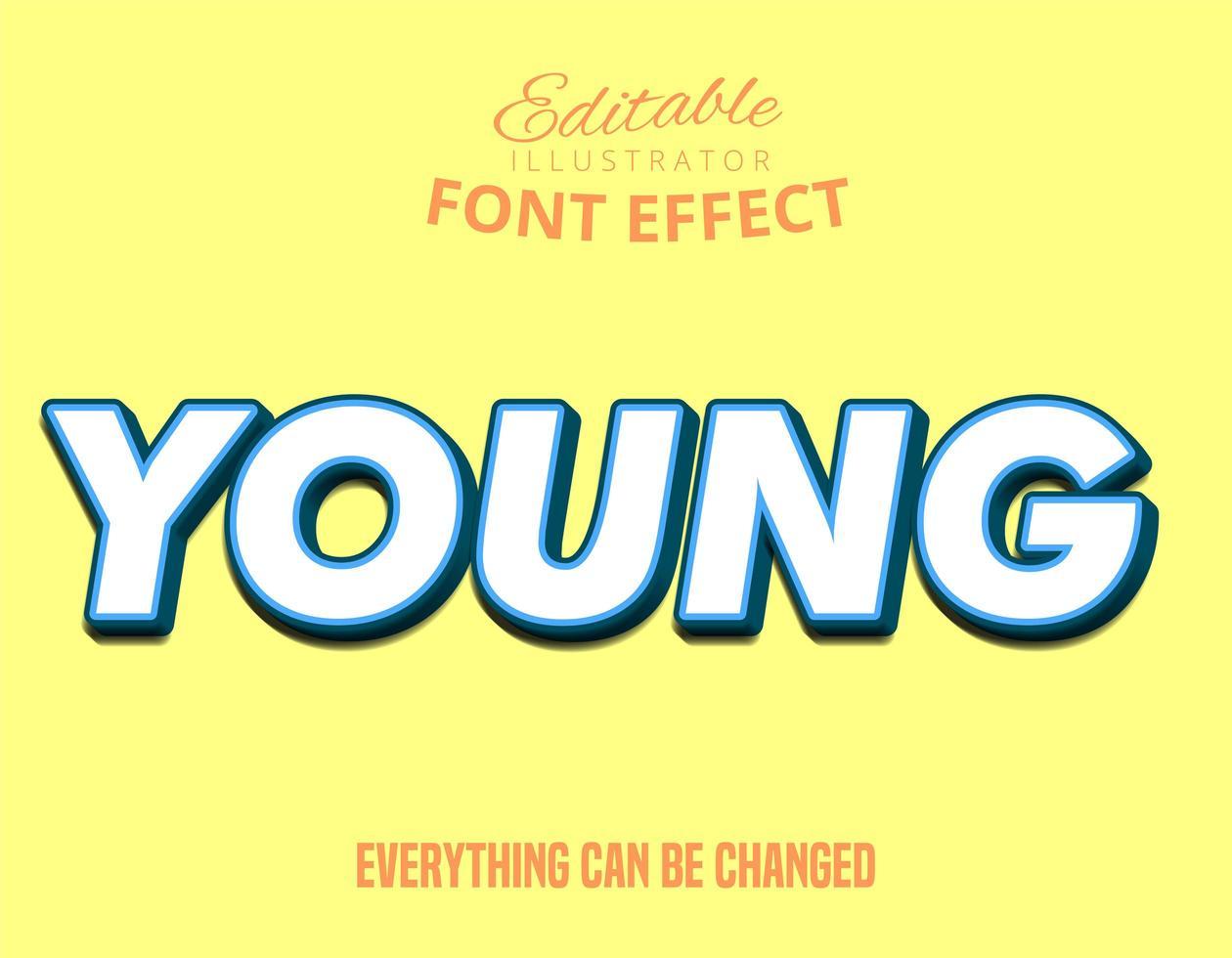 tipografía editable colorido joven vector