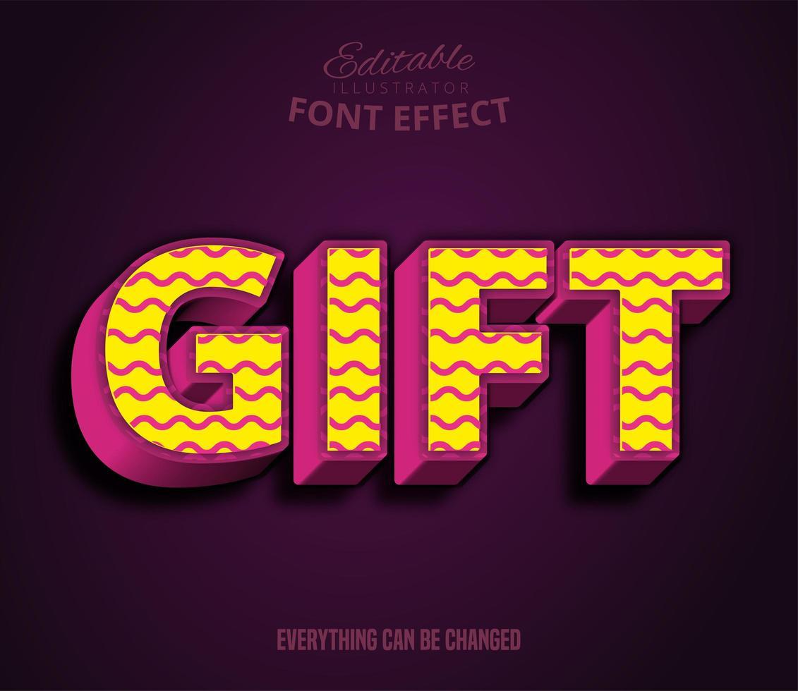 texto de regalo, efecto de texto editable vector
