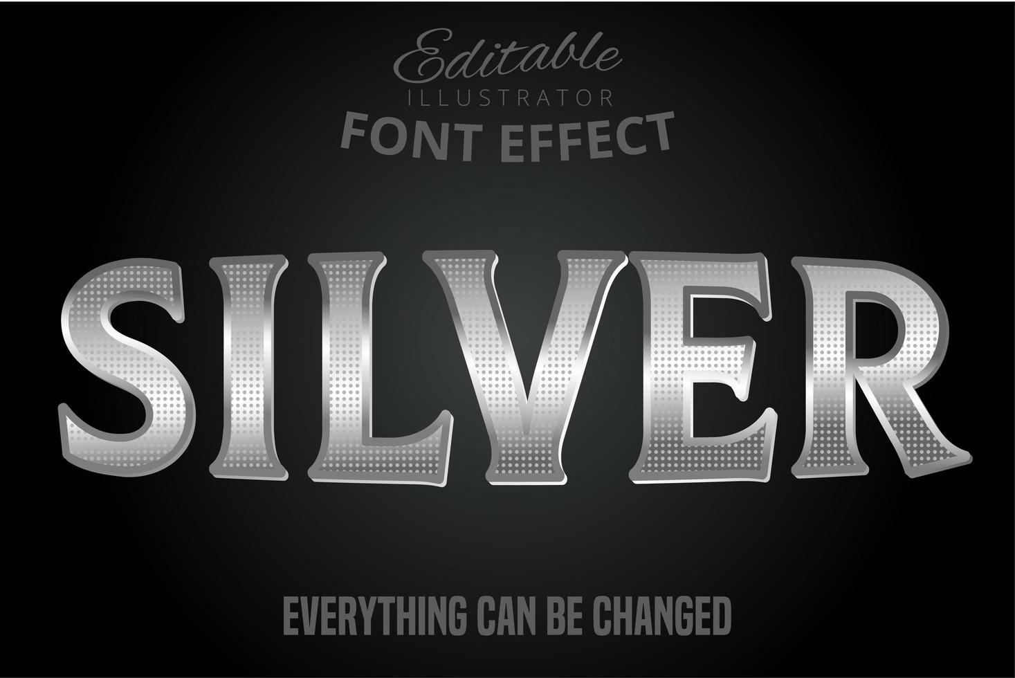 efecto de texto en plata metalizada vector