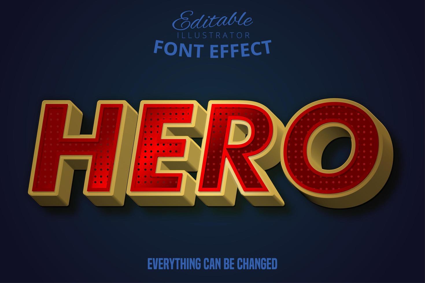 texto de héroe, efecto de texto editable. vector