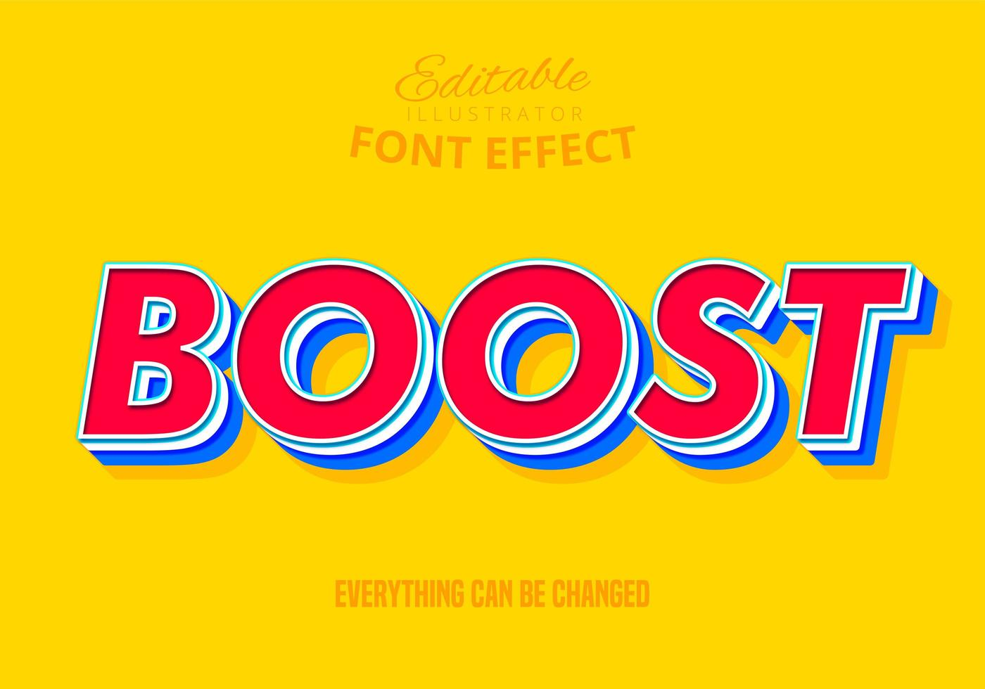Boost Text, Editable Text Effect vector