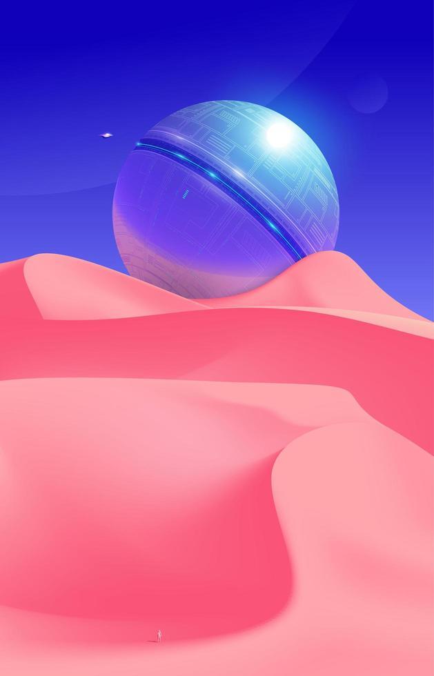 Planet in Desert Scenery  vector