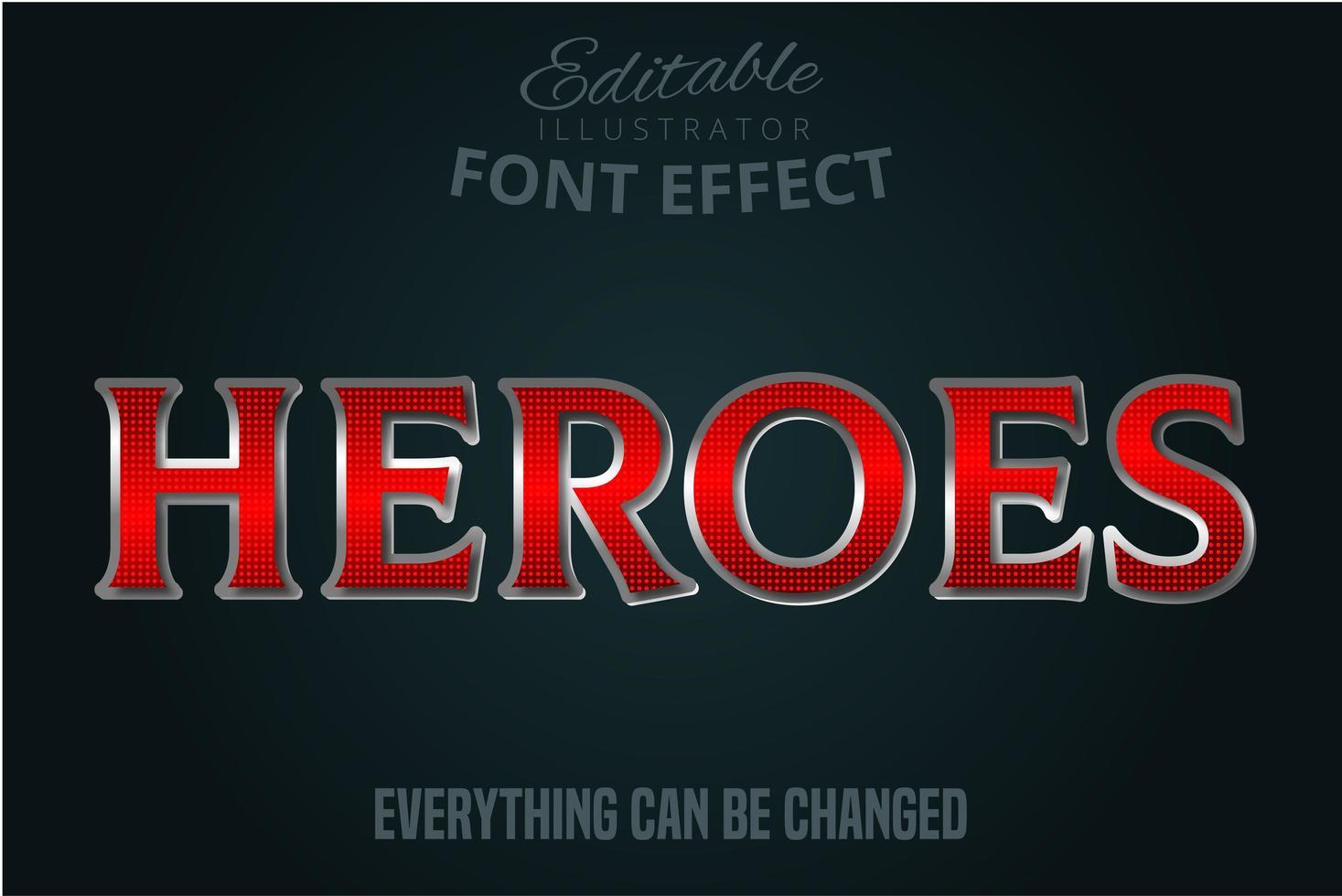 efecto de fuente de héroes metálicos rojos vector