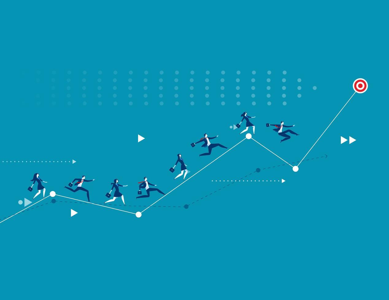 Business people racing up arrow towards target vector