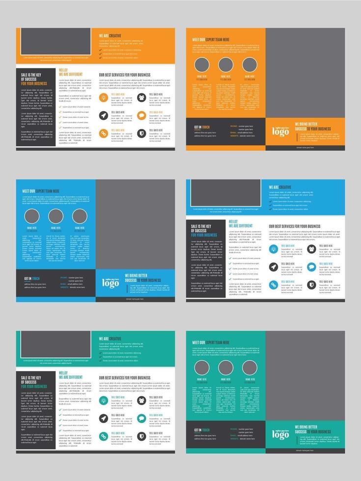 Bi-fold Template Set with Space for Photo vector