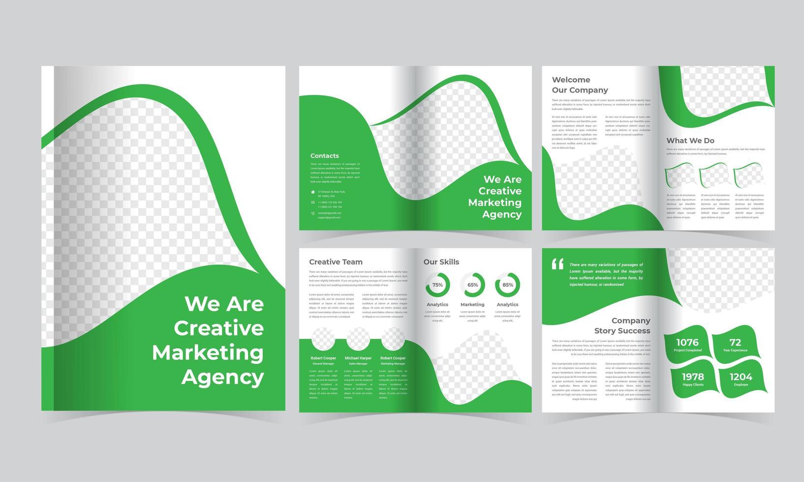 plantilla de folleto corporativo verde con detalles inclinados vector