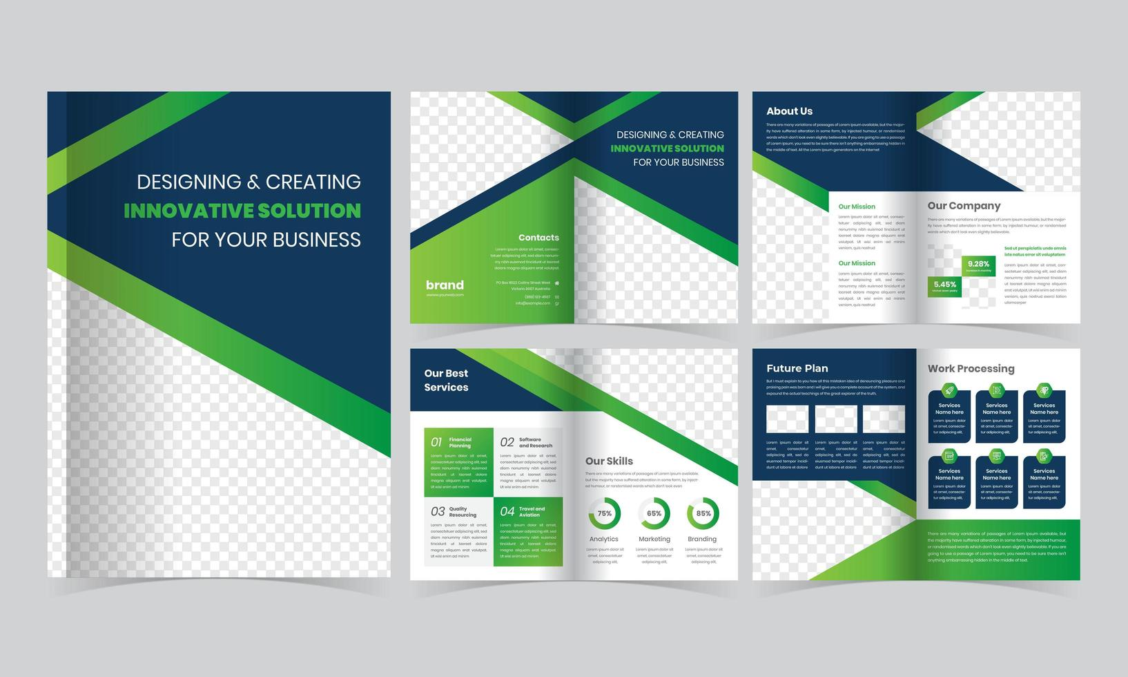 plantilla de folleto verde y azul con rayas diagonales vector