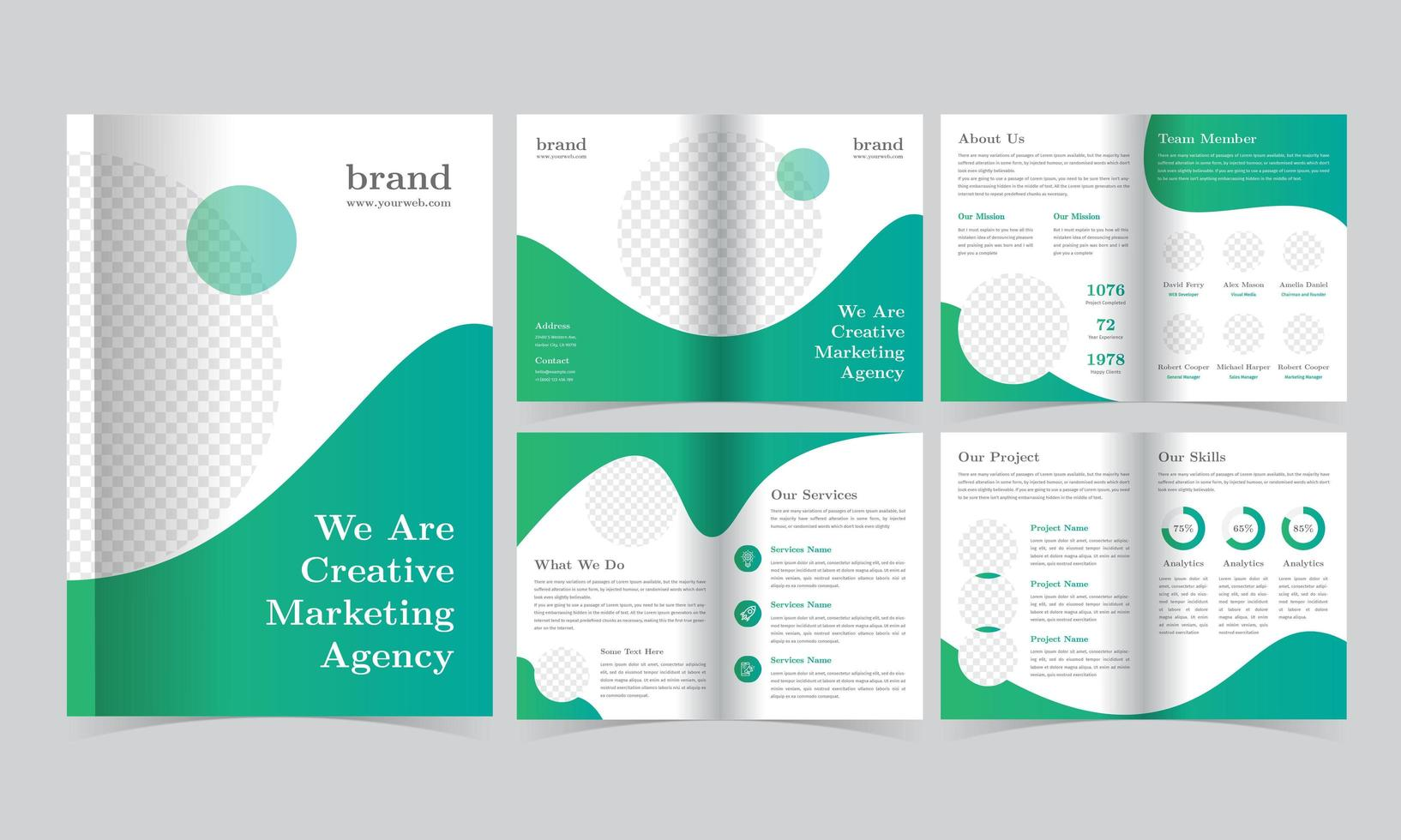 Green Gradient Brochure Template with Circles vector