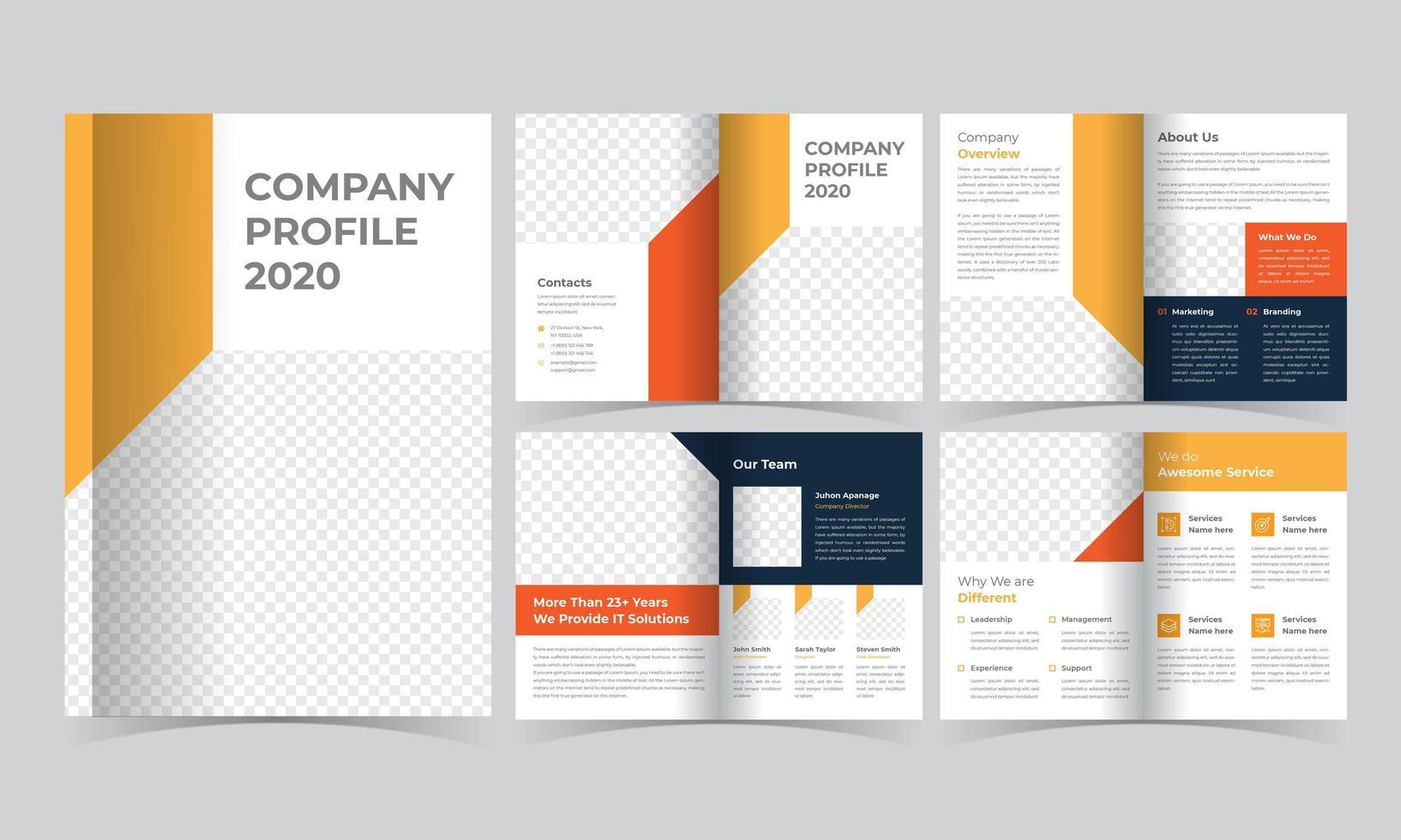 plantilla de folleto corporativo naranja y azul vector