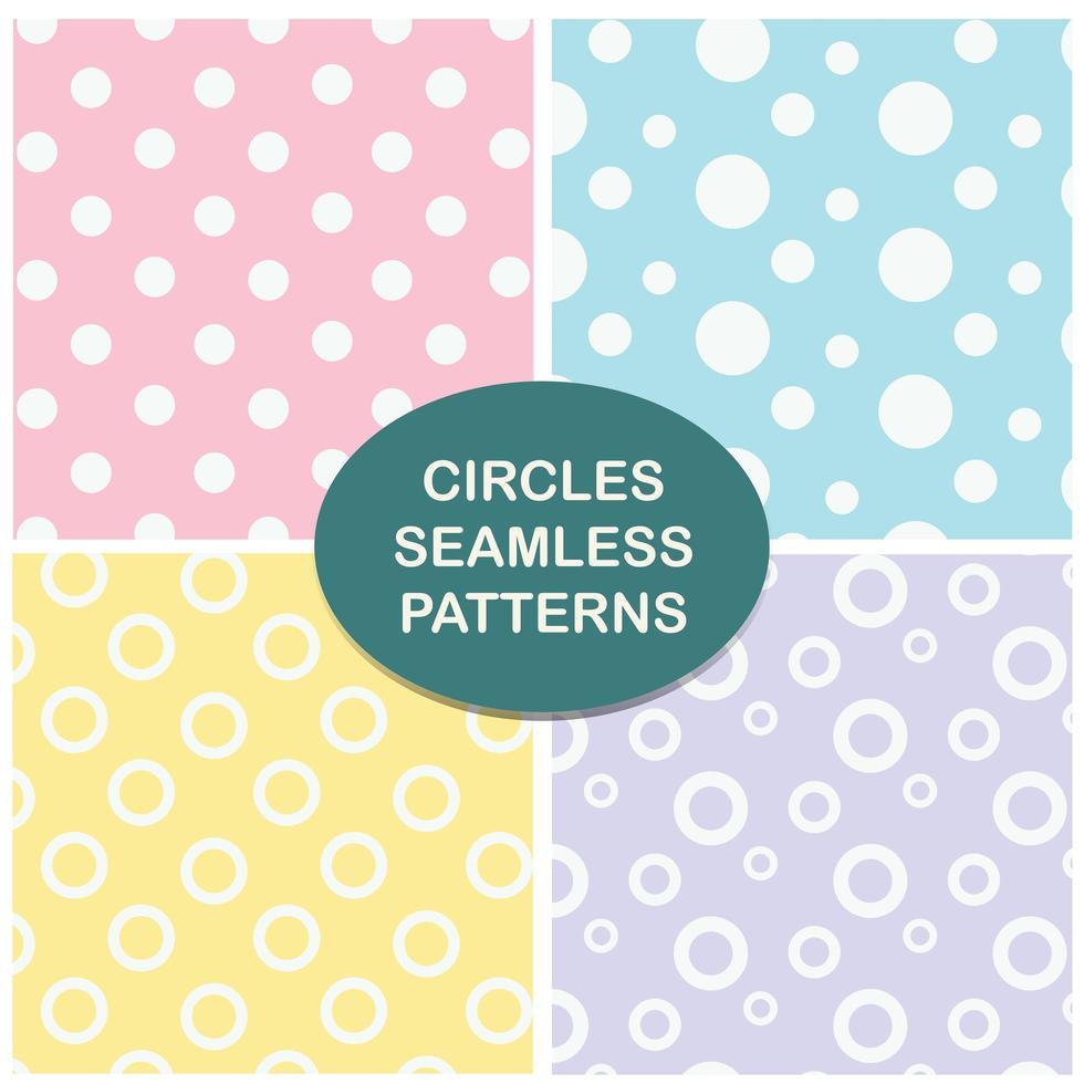 Circles pastel seamless pattern set vector