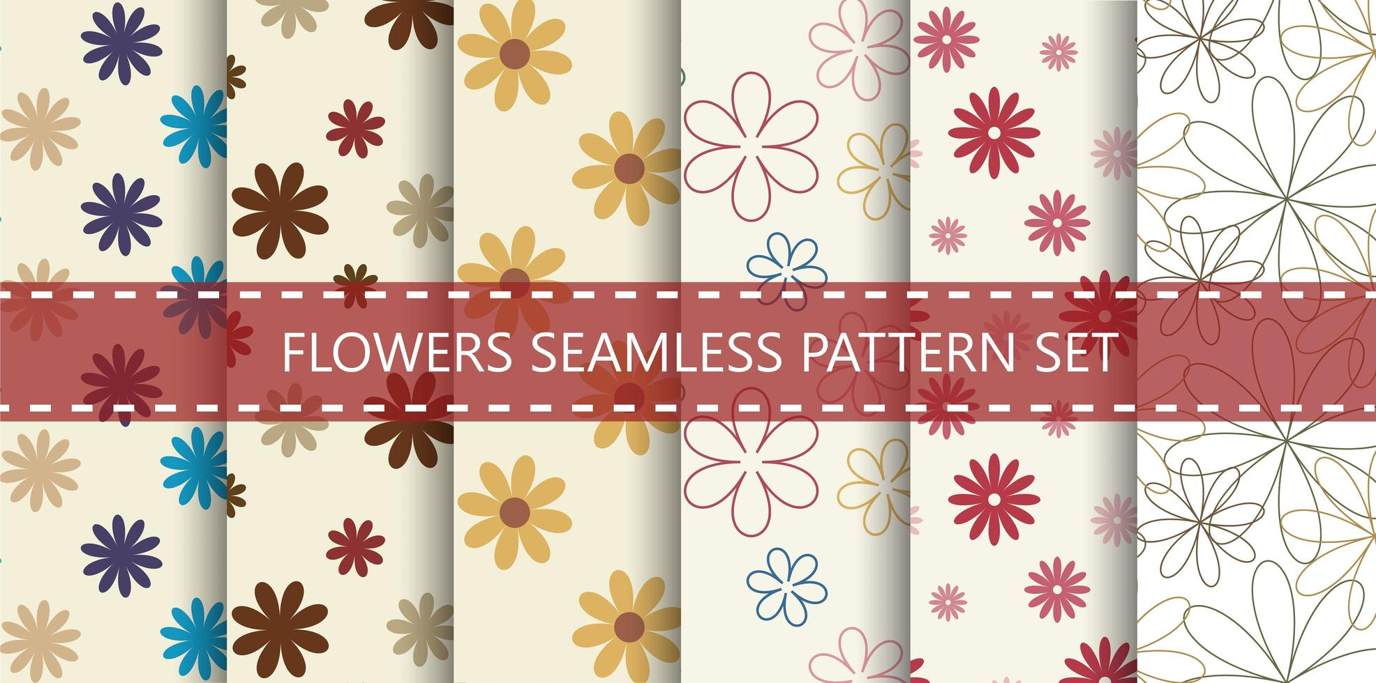 Colorful flowers seamless pattern set vector