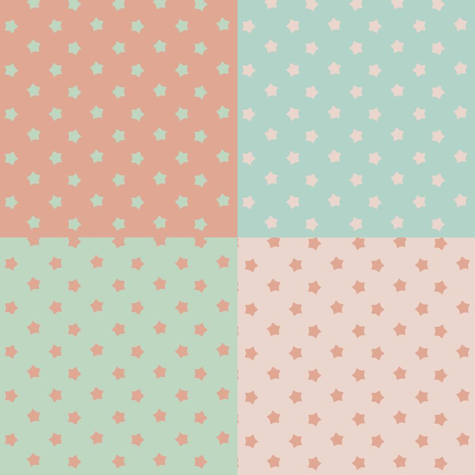 Pastel stars seamless set vector