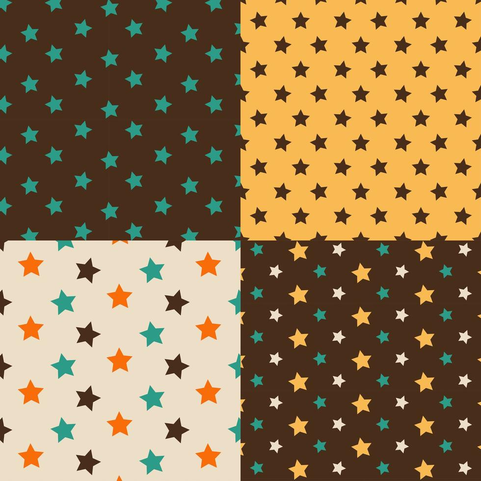 Stars brown and yellow seamless pattern set vector